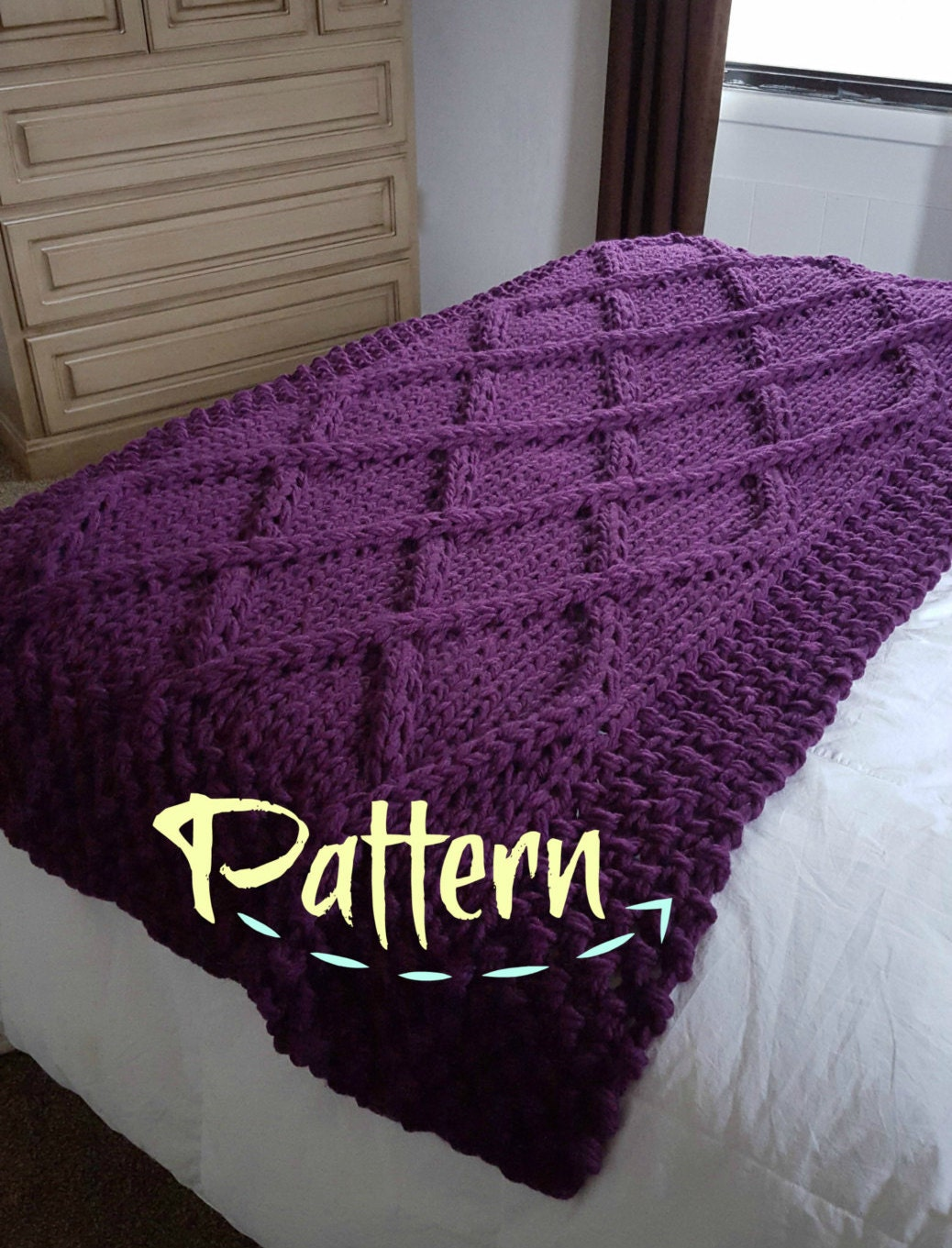 Cable Knit Throw Pattern : Lattice Cable Knit Blanket PATTERN by OzarksMomma on Etsy