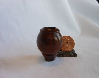 Mini #Walnut Vessel With Extended Lip And Ornate Base  #0011