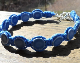 French blue bracelet with blue hemp cord and blue ceramic discs with silver lobster clasp - Adjustable