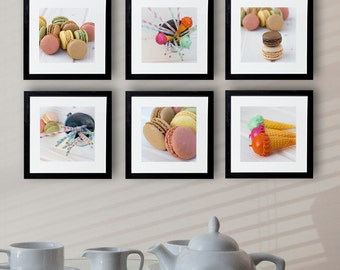 Macaron poster, food photography, set of 6 macaron print, kitchen photography wall art, kitchen art decor, kitchen print, kitchen poster