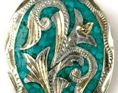 Taxco Mexican Silver Crushed Turquoise Flower Brooch Sterling Silver