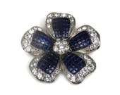 Avon Blue Thermoset Crystal Flower Brooch Rhodium Plated