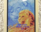 Lion in Grass, Counted Cross Stitch Kit, Janlynn 013-0310, Forever Wild, 5 x 7