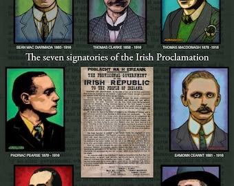 The Signatories of the Irish Proclamation Poster Print by Jim FitzPatrick. Easter Rising, Easter1916, 1916 Rising, Irish, Ireland