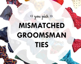 Mismatched Groomsmen Bow Ties