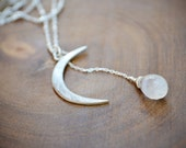 silver moon crescent and moonstone drop necklace /// june birthstone /// the KHALEESI necklace