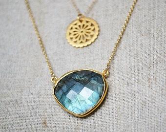 labradorite gold necklace /// large labradorite faceted heart pendant /// long layering necklace