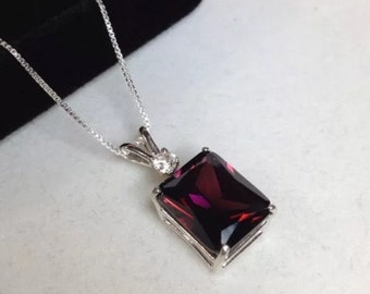 BEAUTIFUL 7ct Raspberry Rhodolite Garnet & White Sapphire 14kt Gold Sterling Silver Pendant Necklace Emerald Cut Rhodolite Garnet