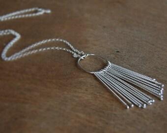 Sterling Silver Tassel Hoop Pendant