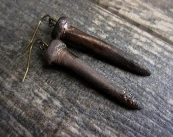 Gothic Earrings,Punk Earrings,Rocker Earrings,Raku Earrings,Gothic Jewelry,Ceramic Earring,Nail Earrings,Rusty Nail Earring,Pottery Earrings