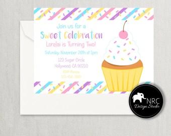 Cupcake Invitation, Cupcake Birthday Invitation, Cupcake Party, Printable Invitation, Sprinkles V2 | NRCDesignStudio