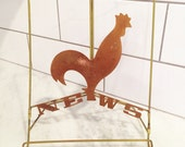 Rooster Decor, Copper Rooster, Vintage Stand, Ipad Stand, Kitchen Decor, Cookbook Holder, Copper Brass, MCM Rooster