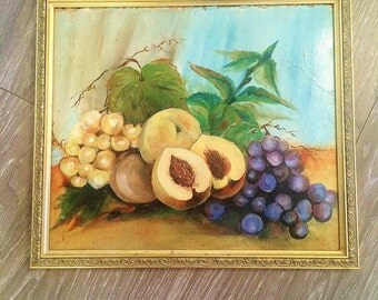 Fruit Still Life Painting, Vintage Oil Painting, Vintage Fruit Painting, Framed Still Life, Gallery Wall Decor