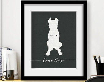 I love my dog, Cane Corso, personalized dog name, heart home decoration poster, digital artwork print, modern home decor dog lover