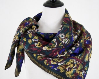 1980s Sueded Silk Dark Floral Large Square Scarf Hand Rolled Hem