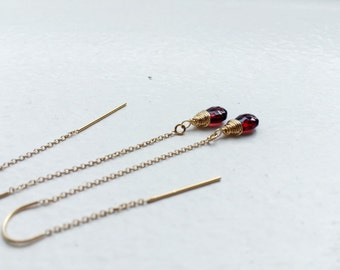 Garnet Thread Earrings Gold Fill