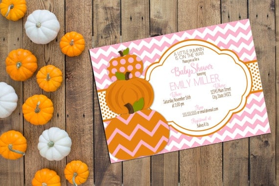 Little Pumpkin Baby Shower Invitation Fall Baby Shower Pink And