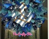 Anchor Wreath, Nautical Wreath, Lake Wreath, Beach House, Nautical Decor
