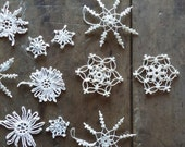 Vintage Ornaments Crocheted Snowflakes Angels Christmas Tree Handmade Home Decor Holiday Ornaments & Accents White Crochet Window Decor
