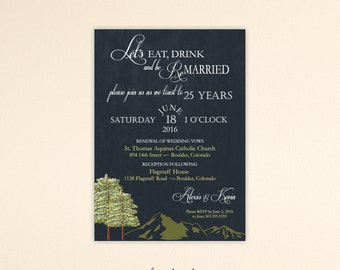 Vow Renewal Invitation, Anniversary Invitation, Eat Drink and Be Remarried, 5th, 10th, 20th, 25th, 35th, 40th, V50551