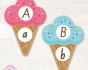 Upper & Lower Case Alphabet Ice Cream Matching Game AUTOMATIC DOWNLOAD