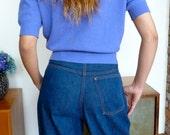 1950s Side Zipper Blue Jeans Vintage Denim 3 Pockets Orange Stitching Nice Indigo Color Small
