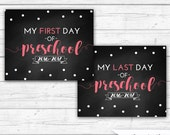 First Day of Preschool Sign, First Day of School, Last Day of Preschool, Back to School, Pink, Confetti, INSTANT DOWNLOAD - Printable