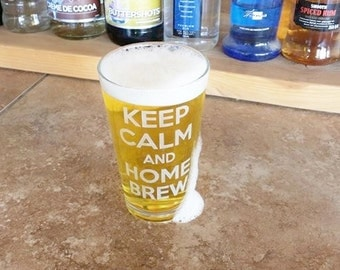 Drink Beer Glass, Craft Beer Gift, Deep Etched Pint Glass, Guy Gift, Christmas Gift, Gift for Him, Make Beer, Home Brew Gift, Brew Day