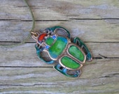 Green scarab pendant, Layering necklace, Egyptian jewelry, Insect jewelry, Cloissone Bug, Statement necklace, Bohemian charm, Glass enamel