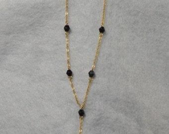 Gold-tone with Black Bead Choker