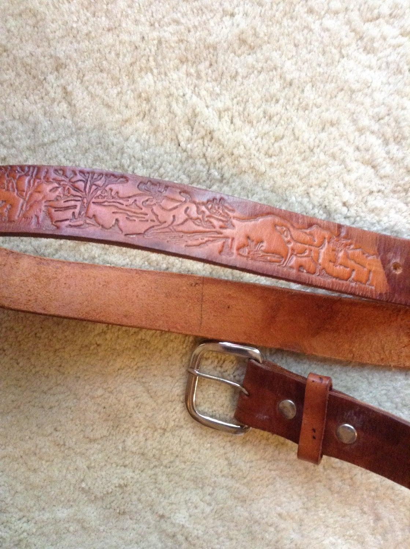 vintage mens tooled leather belt brown leather