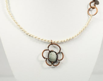 Sakura - hand-formed copper pendant necklace on silver leather with aquamarine gemstone