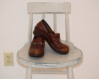 Brown Leather 'Ariat' Clogs with Pewter Colored Harness Buckle - Women's 8