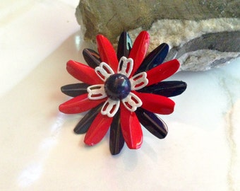 Patriotic Enamel Flower Pin Small Red White and Blue Metal Flower Brooch Fourth of July Daisy Bastille Day Broach Red White and Blue Brooch