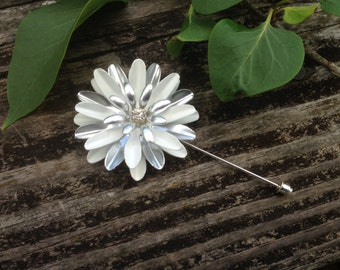Silver and White Enamel Flower Lapel Pin Buttonhole White Metal Lapel Flower Silver Boutonniere White Bout Brooch Men's Lapel Pin Wedding