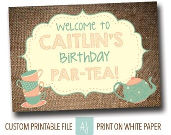 Tea Party Birthday Party Sign- Sign for a Tea Party- Printable Decoration- Instant Download- Printable Shower Game