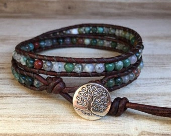 Tree of Life Natural Stone Double Wrap Bracelet