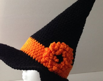Witches Hat - Halloween Adult Costume Hat - Black and Orange - Handmade Crochet - Made to Order