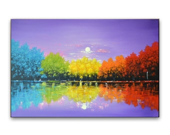 Original painting, Colorful trees painting, original art, contemporary artwork, abstract landscape, large canvas art wall decor