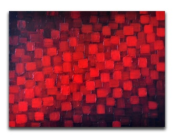 Abstract Red Black Geometric Painting 18x24 Textured Modern Palette Knife Impasto Painting Texture Wall Art