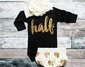 Baby Girl Clothes 1/2 Birthday Bodysuit Half Birthday Shirt 1/2 Birthday Shirt Birthday 6 Month Birthday Baby Girl #105
