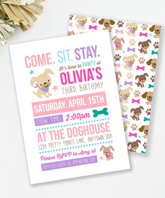 Puppy birthday invitation puppy pawty girl birthday party dog il570xn filmwisefo Image collections