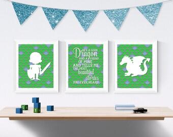 Dragon Nursery Wall Art - Baby's First Christmas Gift - Dragon Baby Shower Gift - Toddler Bedroom Wall Art Prints - Dragon Bedroom Decor
