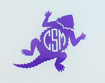 Horned Frog Monogrammed Vinyl Decal