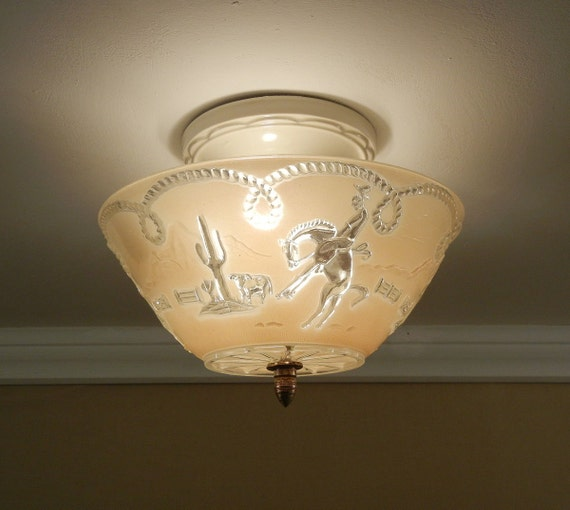 Vintage Western Ceiling Light 1940's OLD WEST Cowboy Theme
