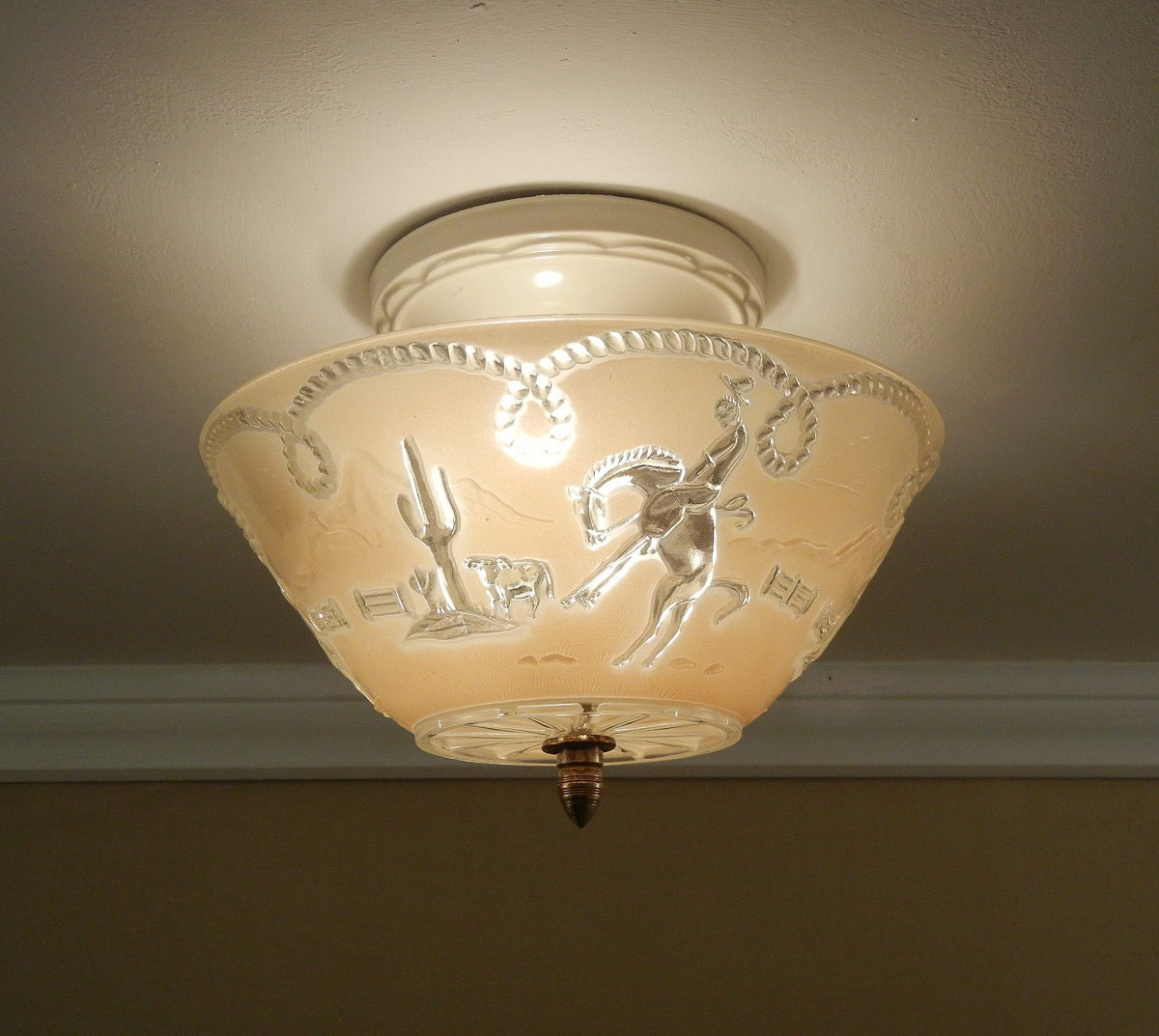 Western Style Ceiling Light Fixtures: Vintage Western Ceiling Light 1940's OLD WEST Cowboy Theme
