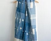 SALE Dark Blue Cotton Gauze Scarf, Hand Screen Printed -  Jeans Indigo Shawl Wrap - Light Cover Up - Unisex Modern Scarf