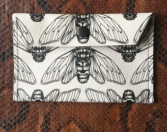 Small White Screen Printed Cicada Leather Purse / Coin Purse / Wallet / Pouch