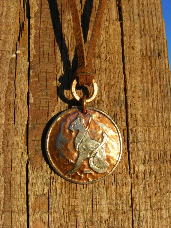 Egyptian Cat Necklace Etched Coin Necklace Etched Quarter