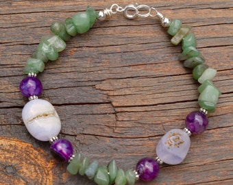 Moonstone, Purple Amethyst and Green Jade beaded Bracelet